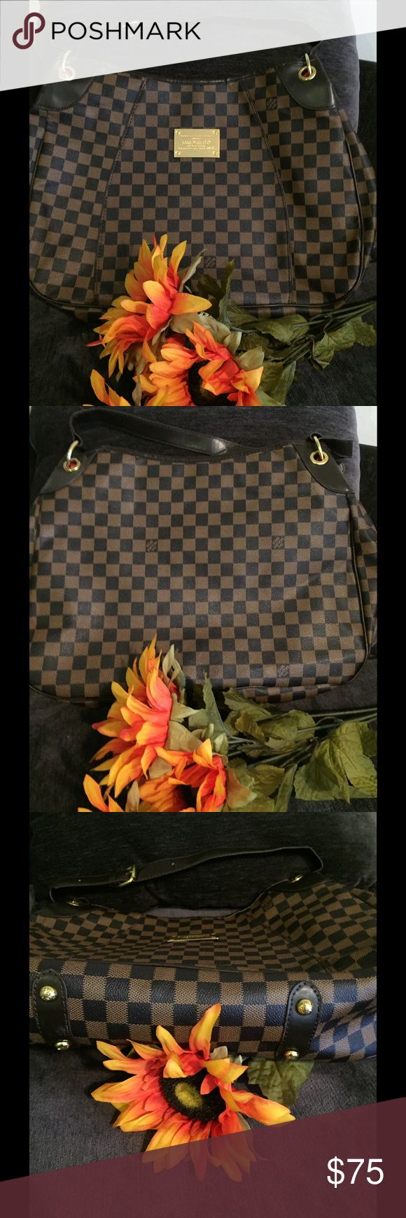 🆕Listing - Fashion Purse Fashion Shoulder Bag checkered design. Says Louis Vuitton 🚫 but NOT authentic. Inside zipper pocket.  Never carried. Bags Shoulder Bags