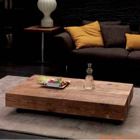 Box legno - Verwandelbarer Couchtisch mit Tischplatte aus Tannenholz antik mit Vintage-Effekt