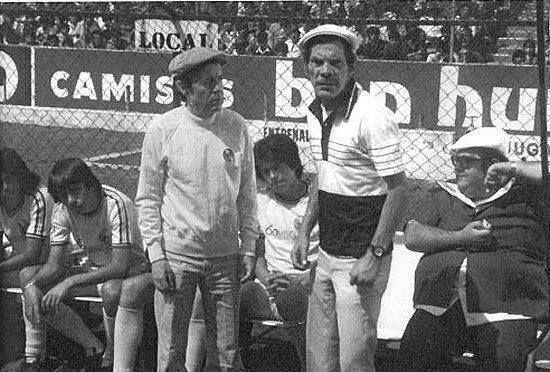 1978 - Chespirito, Ramon Valdez y Edgar Vivar durante el rodaje de la pelicula El Chanfle