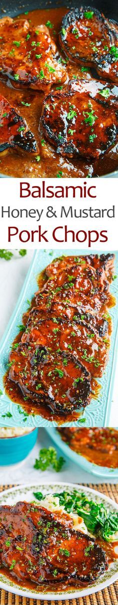 Balsamic Honey and Mustard Pork Chops- substitute coconut Aminos for soy sauce and omit sirs ha for aip