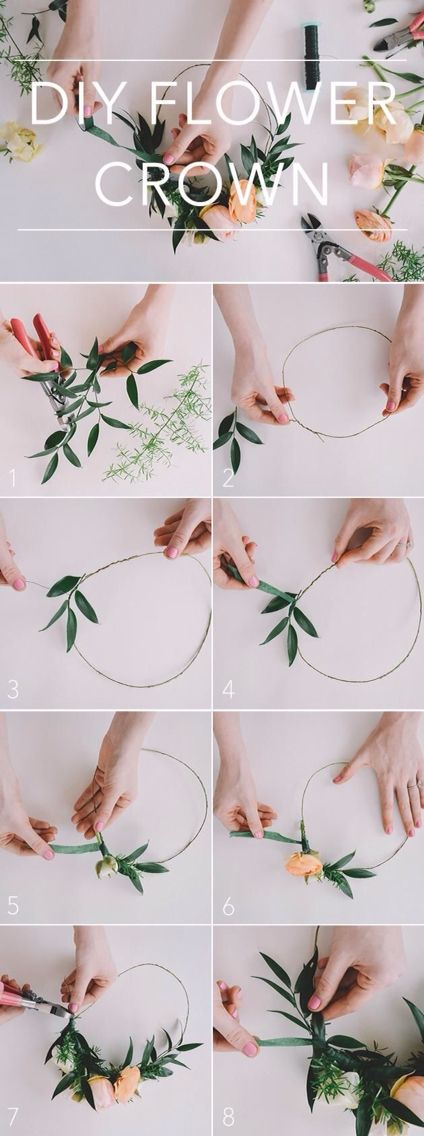 Floral crown. Great for the DIY brides among you. A sequence of photos showing how to make  a fresh floral crown. Could also make a great festival accessory!