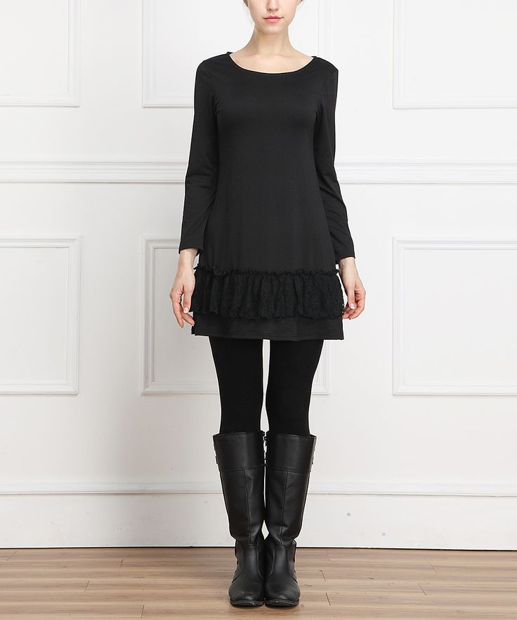 Black Ruffle-Hem Scoop Neck Dress Make from men's long over-sized t-shirt..add lace ruffle! jw~