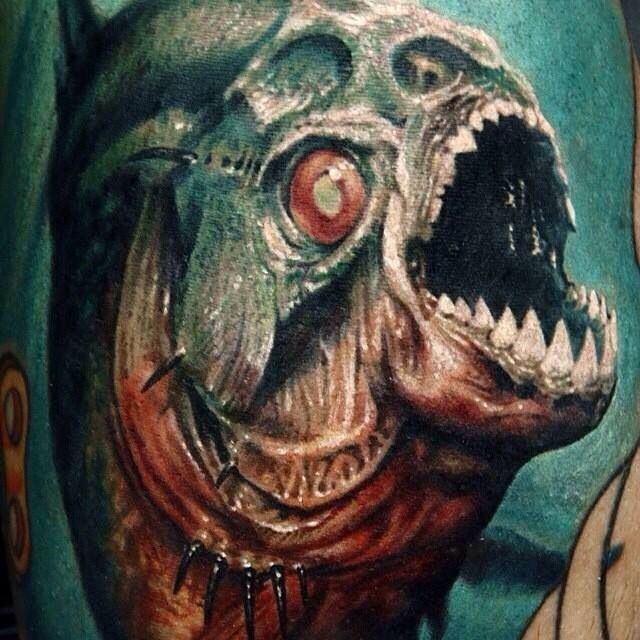 Piranha skeleton tattoo - photo#34
