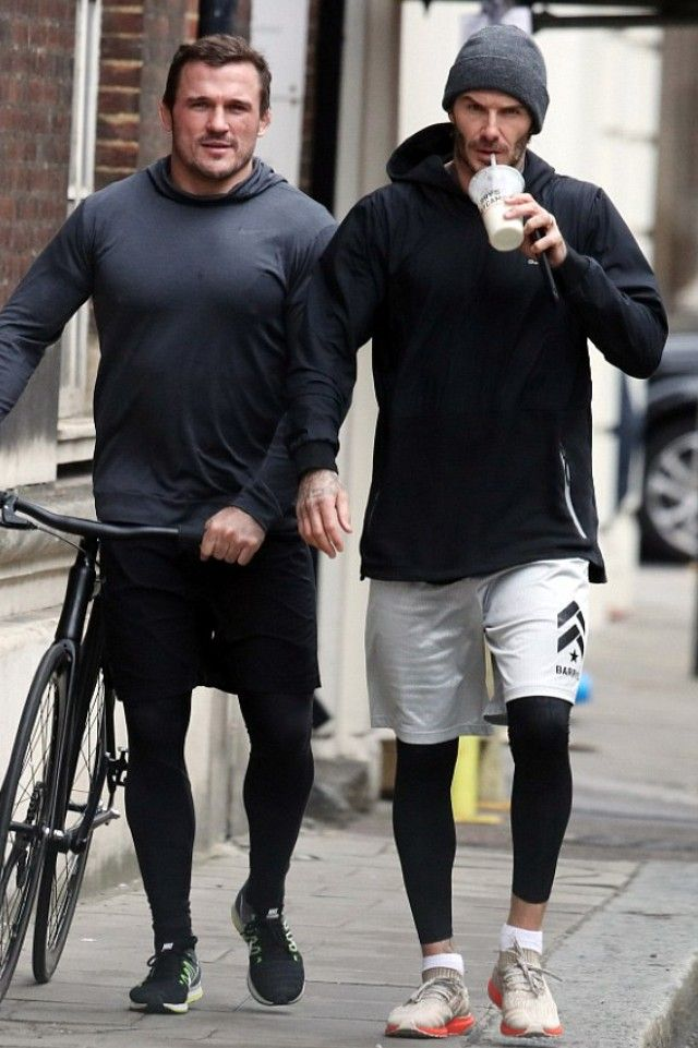 David Beckham wearing Adidas Sport Luxe Mix Hoodie, Adidas Ultra Boost  Uncaged Trace Cargo Sneakers