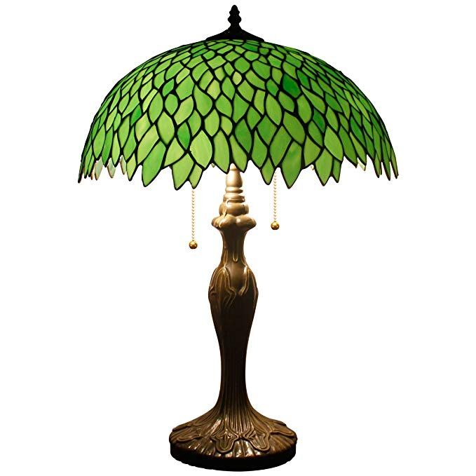 Werfactory Tiffany Style Table Lamp Light S523 Series 24 Inch Tall Green Wisteria Shade 2 Bulb Desk Light Tiffany Style Table Lamps Antique Table Lamps Lamp
