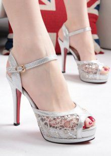 European and American big bud mesh yarn sexy fish mouth high heels fine  with the sequined strappy sandals shoes