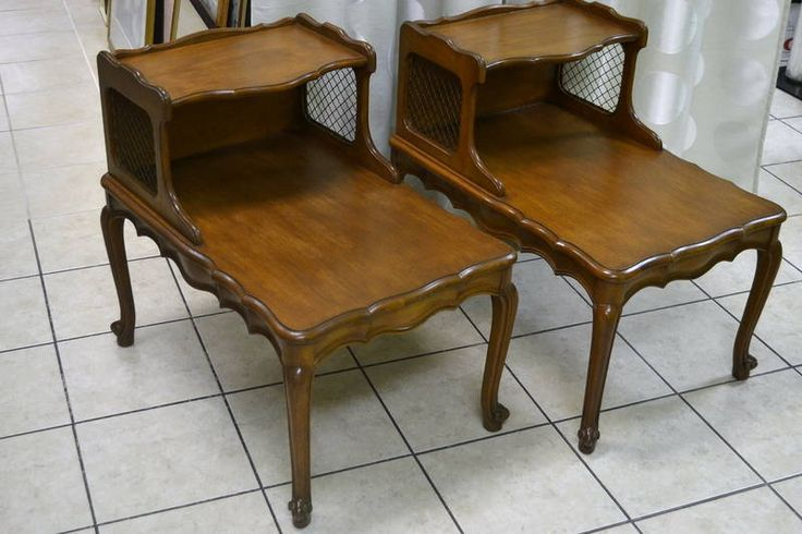 Pair of Vintage French Country Style Two-Tier End Tables with Wire Mesh Cut-Out