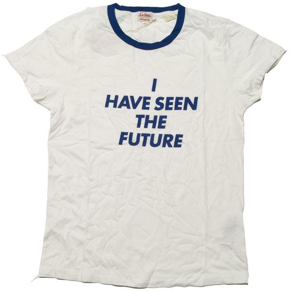 Levi's Vintage Clothing 1940's S/S Graphic Tee I Have Seen The Future... ($98) ❤ liked on Polyvore featuring tops, t-shirts, shirts, tees, levi t shirts, graphic tees, graphic tops, levi shirts and levi's