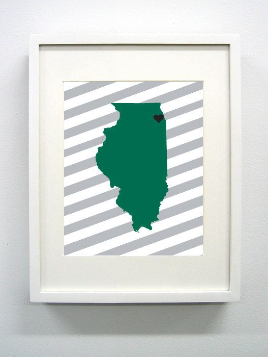 Chicago Illinois State Giclée Print  8x10  Black by PaintedPost, $15.00 #paintedpoststudio - Chicago State University - Cougars - Illinois State Map- What a great and memorable gift for graduation, sorority, hostess, and best friend gifts! Also perfect for dorm decor! :)