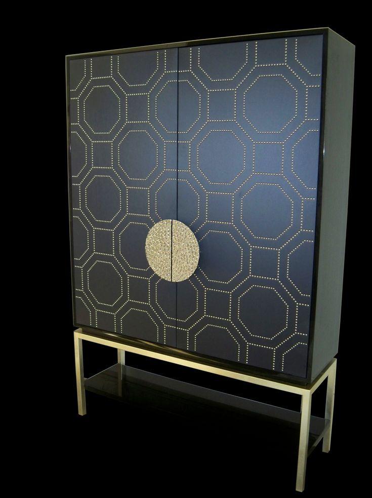Drinks Cabinet Doors metal studs create design AveEncino Daly