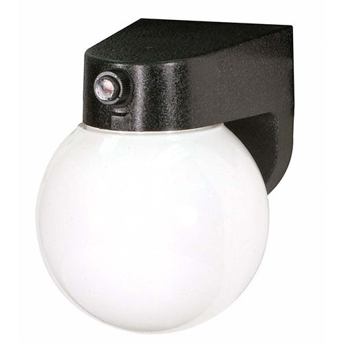 Black One-Light Fluorescent Outdoor Porch Wall Sconce with Lexan Globe Shade and Photoelectric Sensor