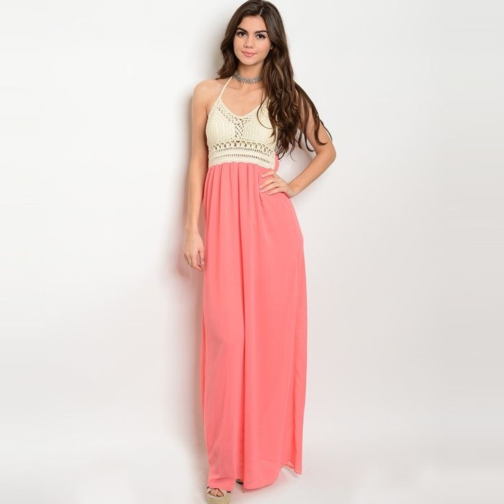 Shop The Trends Women's Sleeveless Halter Neck Crochet Lace Top Maxi Dress With Skirt And Scoop Neckline