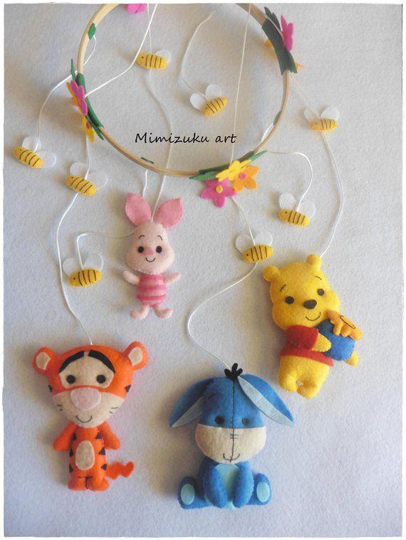 Winnie the pooh mobile, felt crib mobile, babyroomdecor, filz mobile ...