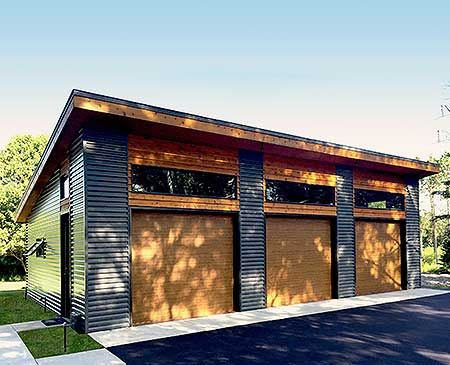 Architectural Designs 3 Car Modern Garage Plan gives you over 1,000 sq. ft.  inside