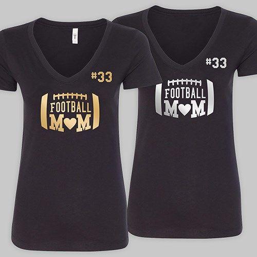 Personalized Football Mom Black V-Neck T-Shirt