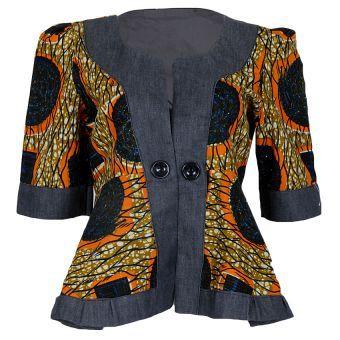 Denim Patch Ankara Jacket - Blue / Orange #ankara, AfricanFabric, #jacket