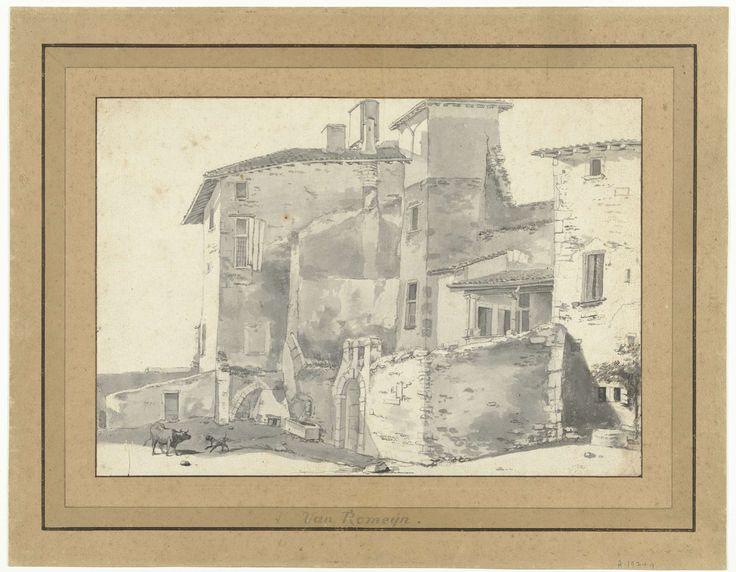 Willem Romeyn   Groep Italiaanse huizen in Rome of omgeving, Willem Romeyn, 1634 - 1694  