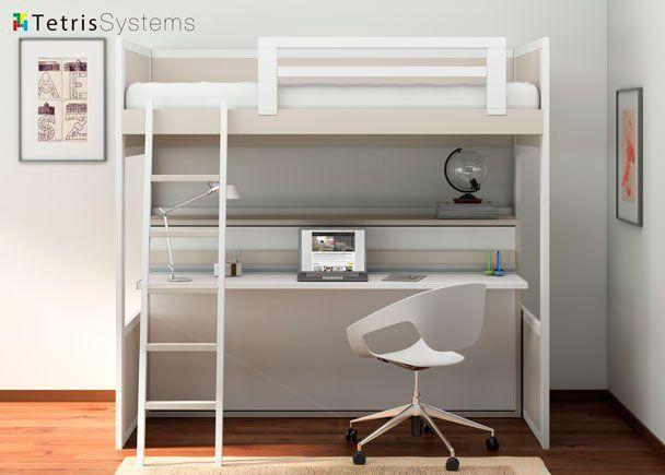 Litera romántica con cama abatible y escritorio
