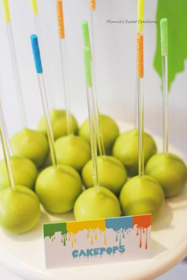Boys Neon Art Themed Birthday Party Food Dessert Cake Pop Ideas