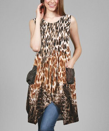Another great find on #zulily! Brown Leopard Sleeveless Pocket Tunic - Plus #zulilyfinds
