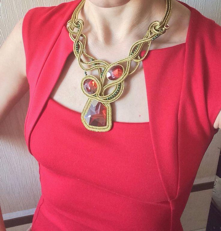 Soutache necklace with Svarovsky Kaput crystals