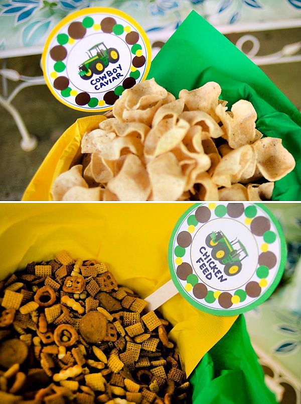 {John Deere Inspired} Tractor Birthday Party.....I like the chicken feed idea