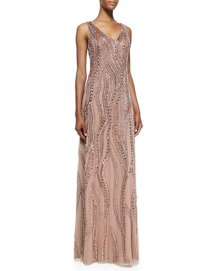 Sleeveless V-Neck Beaded Gown, Women's, Size: 2, Rose Gold - Aidan Mattox