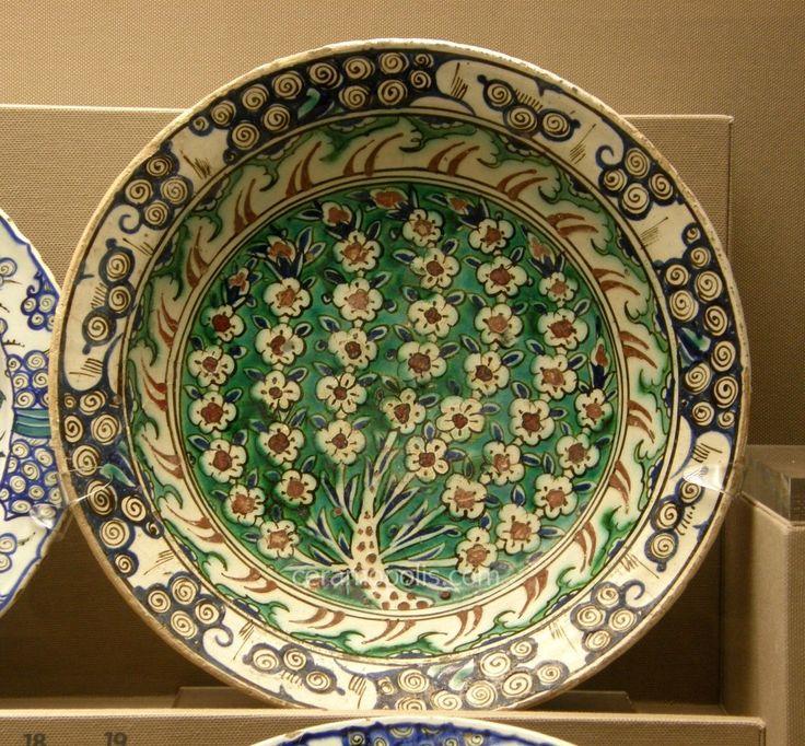Iznik Plate – Tree with Flowers Iznik 16th – Benaki Islamic Museum Athens Greece