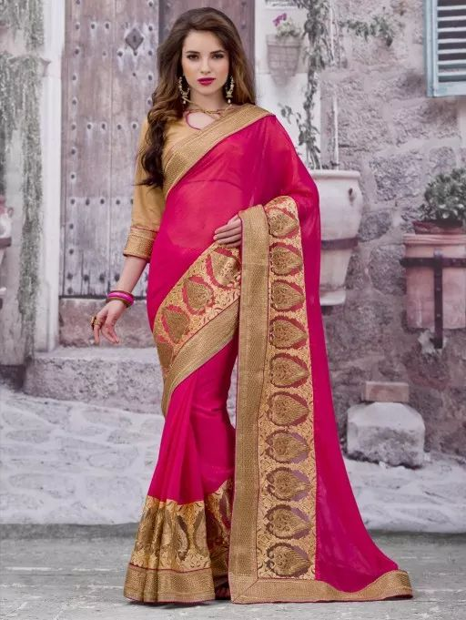 Pink and Beige Cotton Saree with Embroidery Work