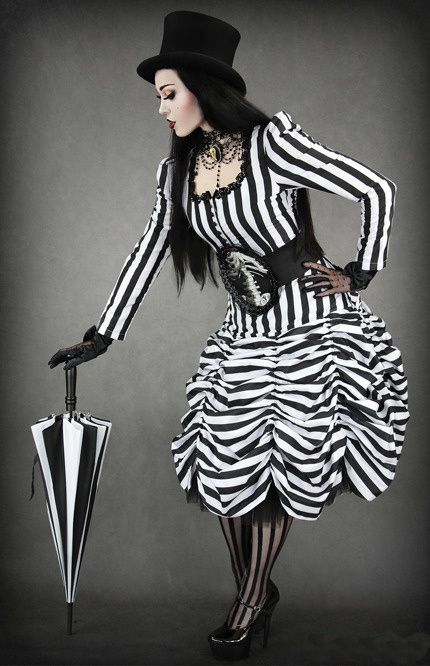 I absolutely love black and white stripes like this! Plus the top hat and umbrella and this is amazing!