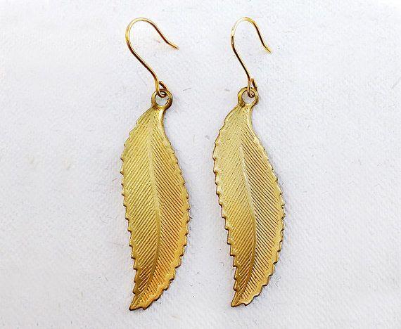 Italian Vintage Earrings  Leaf di SmeraldaVintage