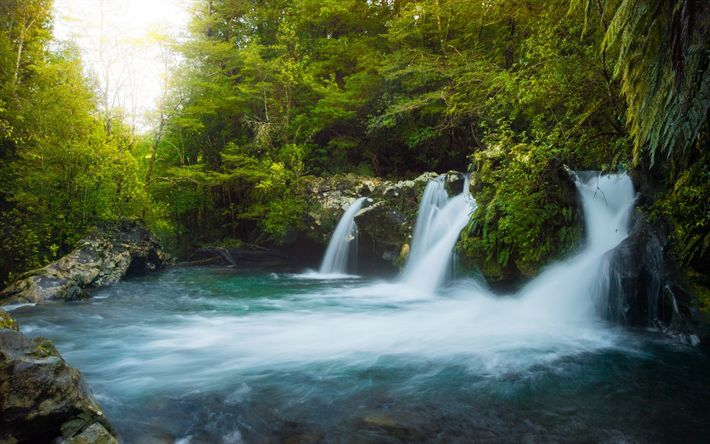 Download wallpapers waterfall, lake, forest, autumn, sunset, beautiful landscape