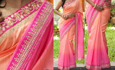 NEW LATEST PINK COLOR PEDDING NAYLONE SILK GEORGET EMBROIDERY WORK SAREE Sarees on Shimply.com