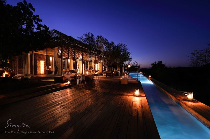 Singita Lebombo Lodge warms up with lanterns lit in preparation for the evening of dining under the stars.