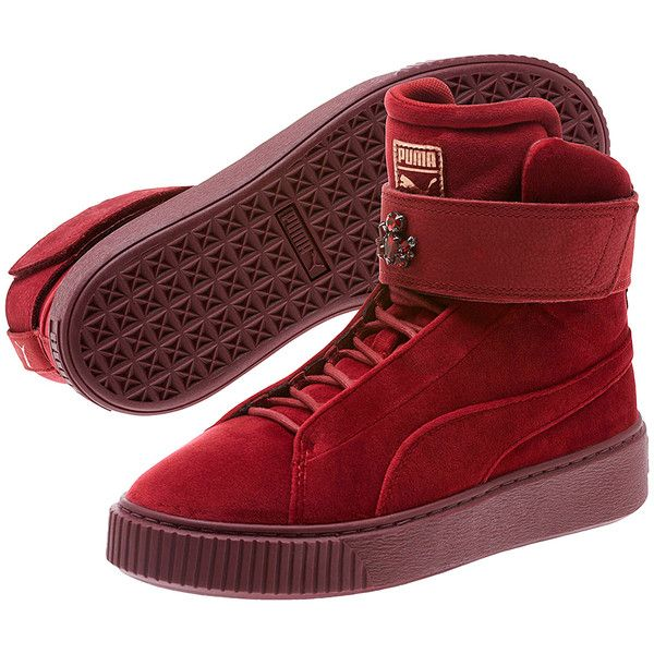 PUMA Cordovan Platform Mid Velour Sneaker ($72) ❤ liked on Polyvore featuring shoes, sneakers, cordovan shoes, urban shoes, urban sneakers, rubber sole shoes and velcro closure sneakers