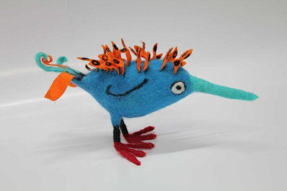 Spikes felt bird sculpture by Ruthfully on Etsy