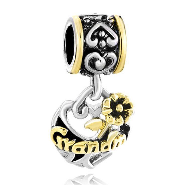 Filigree Vintage Antique 22K Golden Plated Heart Flower Grandma Dangle European Love Beads Fits All Brands Charm Bracelet Pandora Chamilia Compatible | Charmsstory.com #grandma #pandora #charms #vintage #filigree #chamilia #pugster