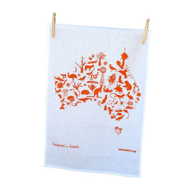 Australian map tea towel