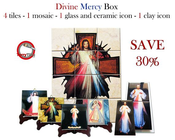Next Sunday will be the #Divine #Mercy day. I've created a very very special offer on #Etsy. A box with 4 icons on tile, 1 tile mural composed by 12 ceramic tiles, 1 clay icon on tile, 1 ceramic and glass icon. You will save more than 30% on regular price! All icons and the mural are ready to hang. Free shipping to selected countries. https://www.etsy.com/listing/512340616