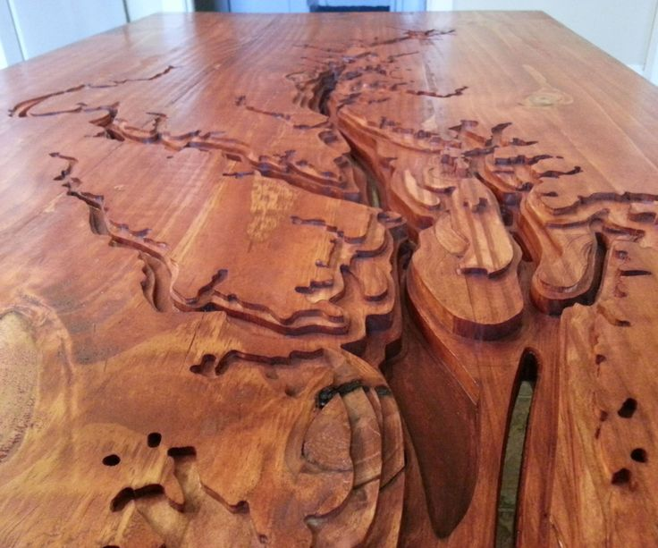 """Being from the Chesapeake Bay area and a fan of maps, I made a to scale, topographic map of the Chesapeake Bay, and then made it into a coffee table.With cad software you can scale this down or up to engrave onto almost anything. You could also do another region.Materials usedLumber- I used 2x12 Pine, it would be better to use Oak or Walnut or anything other than Pine.Wood GlueBiscuitsBar ClampsRhino (or any other drafting software)CNC machineSand PaperStainSealer1"""" Black Pipe1"""" Pip..."""