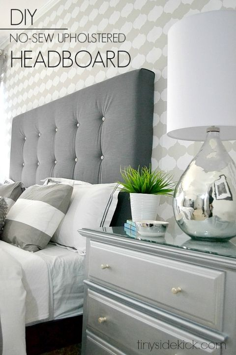 DIY no sew upholstered headboard tutorial