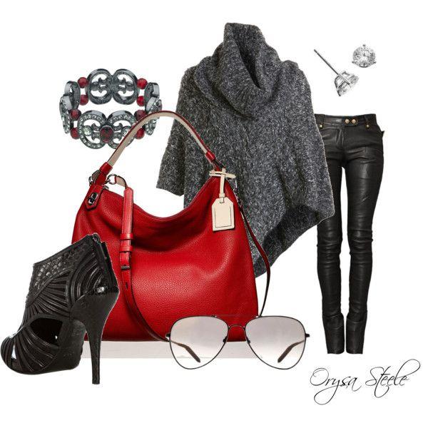 Red handbag: Bangs Outfits, Black Leather, Handbags Black, Red Purses, Handbags Heavens, Fashion Black, Bags Lady, Red Bags, Red Handbags