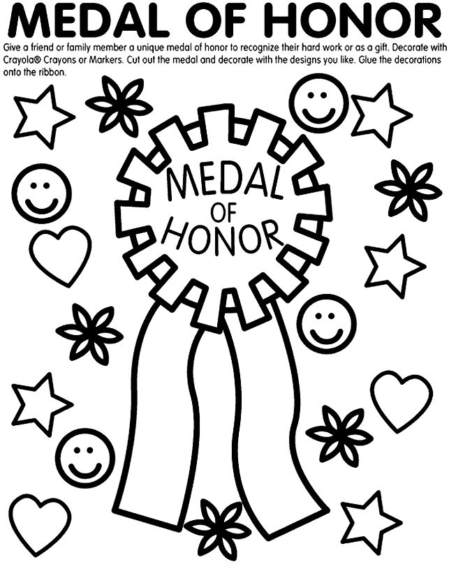Teacher Awards Coloring Pages Medal Of Honor Page