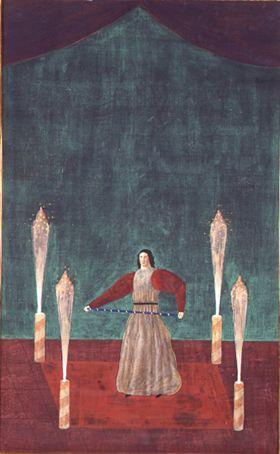 有元利夫《花火のある部屋》ミクストメディア,キャンバス 116.5 x 73.0cm, 1979
