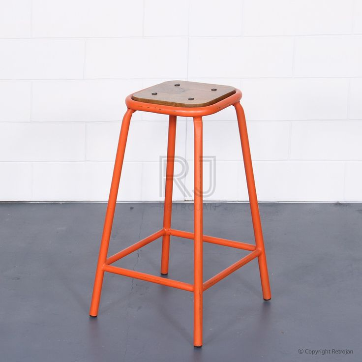 Tall Baez Industrial Style Stool - Orange   $99.00