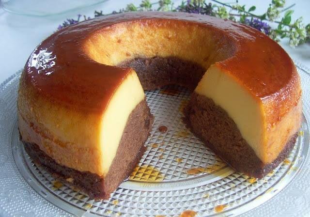 Gâteau de semoule au caramel et chocolat facile a faire