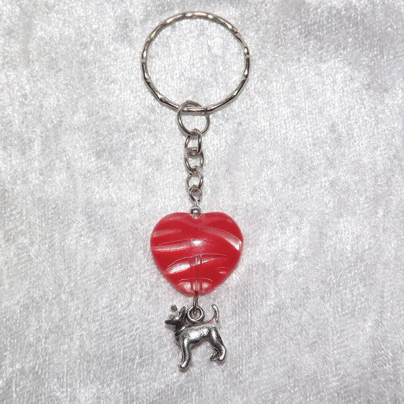 B.Long Striped Heart Chihuahua Keyring (Red) - Free UK P&P - Dog / Animal / Love /  Dog-Lover / Purse / Keychain / Funky / Cool / Unusual