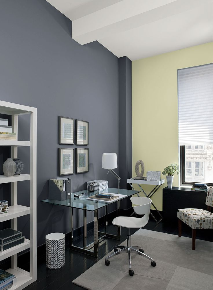 paint colors office. urban home office! wall color: eclipse - accent rainforest dew paint colors office