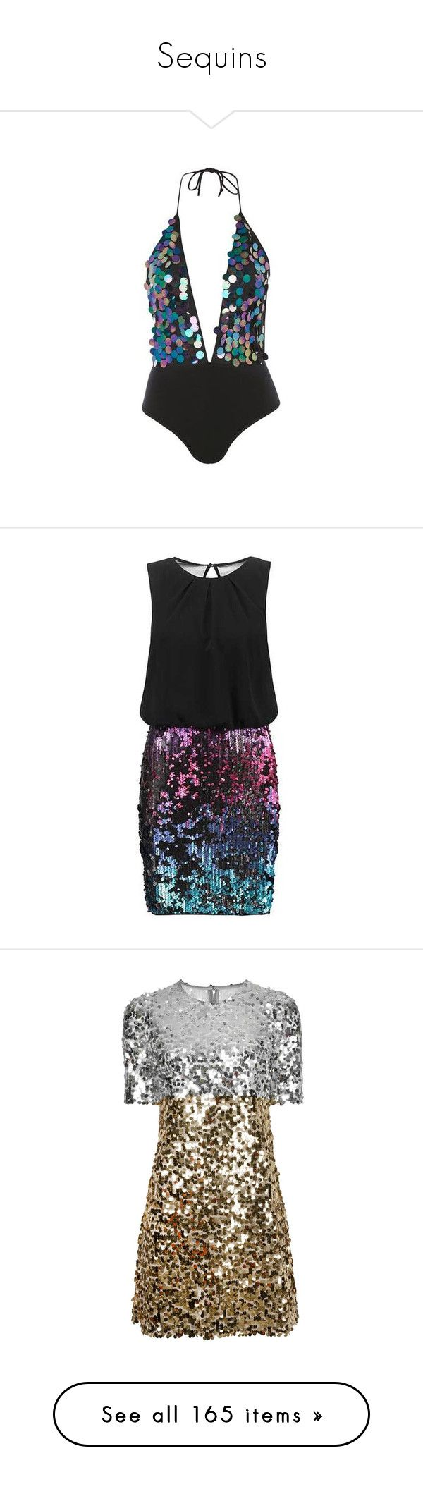 """""""Sequins"""" by jennross76 ❤ liked on Polyvore featuring bodysuit, mixed metal, dresses, multi colored dress, multi-color dresses, colorful cocktail dress, multi color dress, multicolored dress, vestidos and short dresses"""