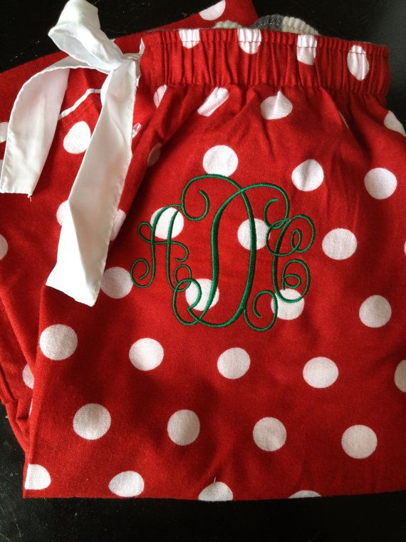 Monogrammed Christmas Pajama Pants by CharlottesStitch on Etsy  It would be so cool if our family had these for Christmas morning!!